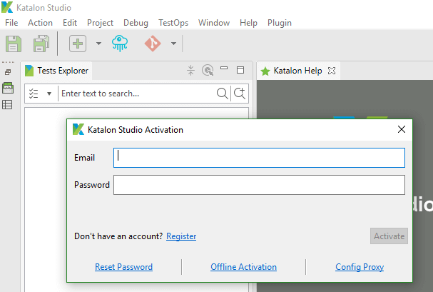 Downloading Katalon Studio - Activation Screen