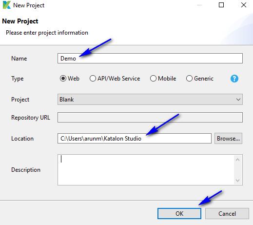 Downloading Katalon Studio - New Project Dialog