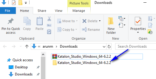 Downloading Katalon Studio - Open Extracted folder