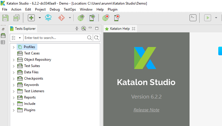 Downloading Katalon Studio - Project Opened