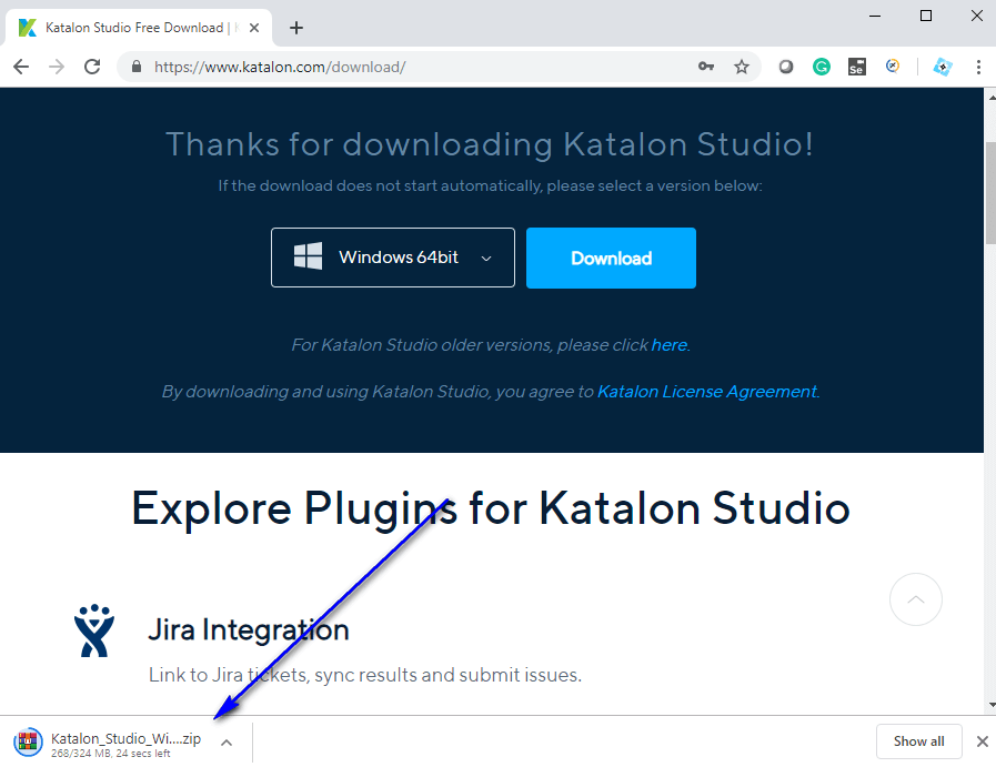 Downloading Katalon Studio - Thanks for downloading