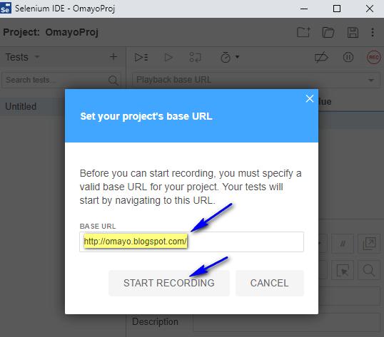 New Selenium IDE - Base URL