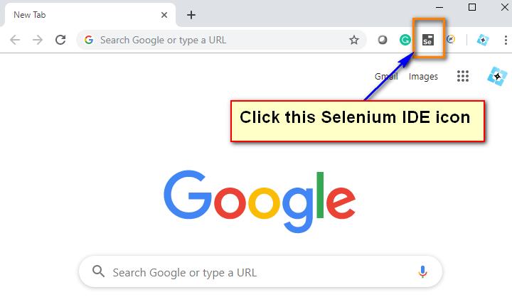 New Selenium IDE - Click Icon