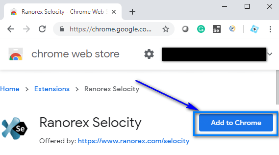 Ranorex Selocity - Add to chrome