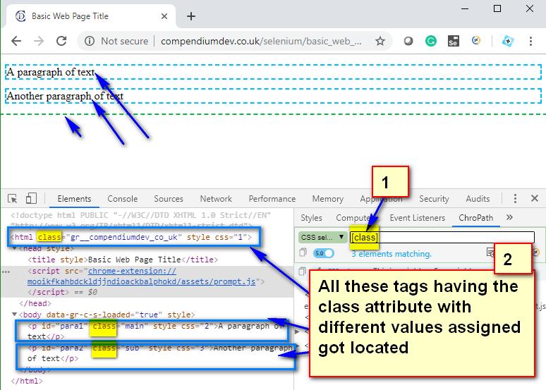 Relative CSS Selectors - all class