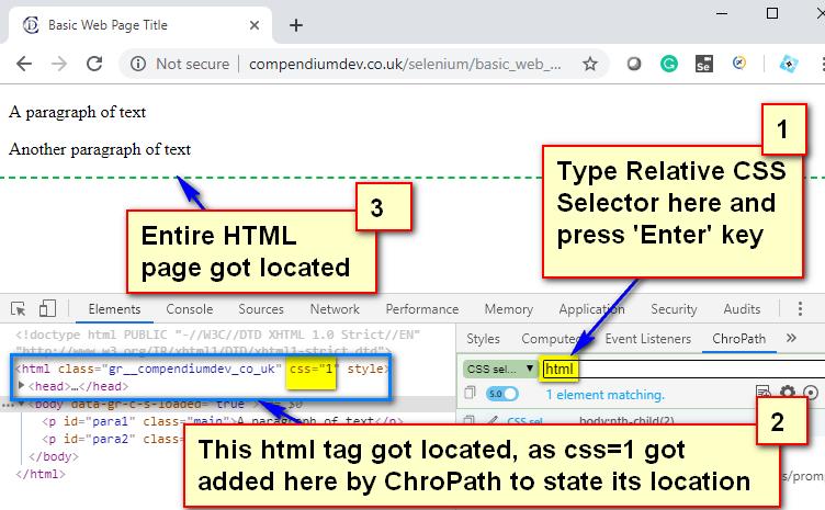 Relative CSS Selectors - html