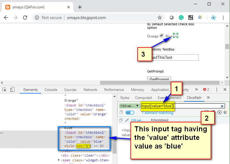 Relative CSS Selectors - input value blue