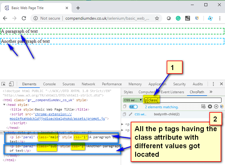 Relative CSS Selectors - p class