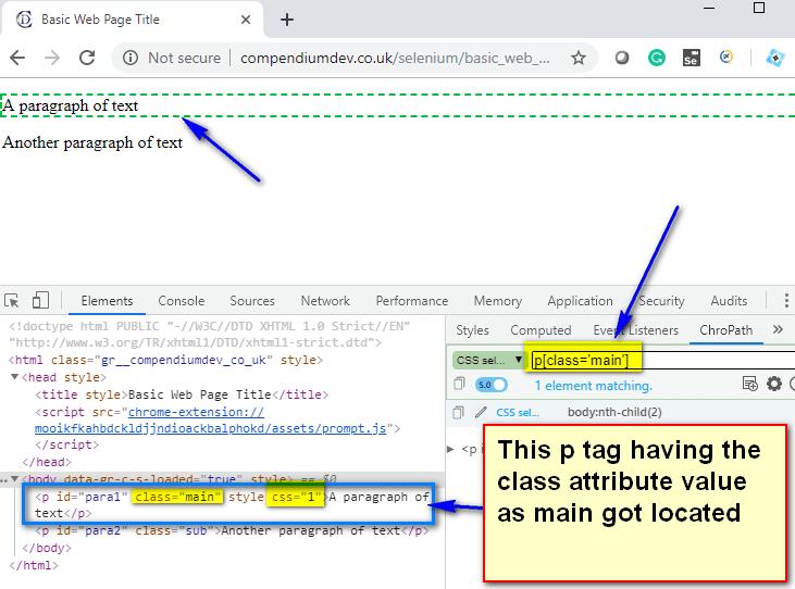Relative CSS Selectors - p main