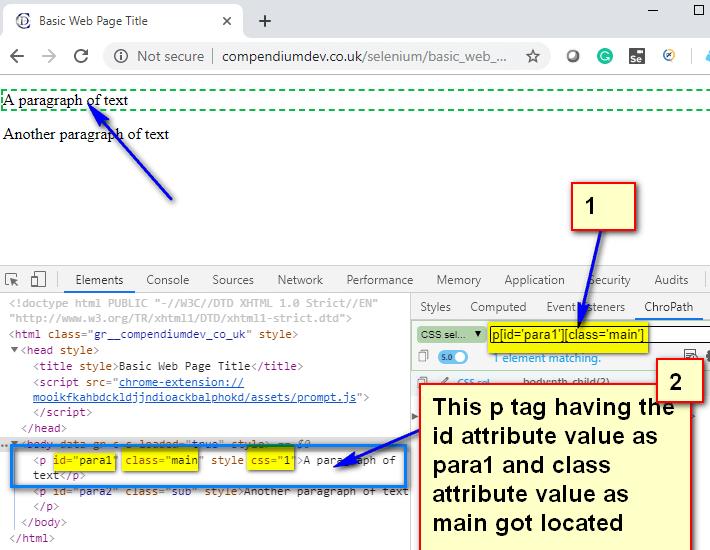 Relative CSS Selectors - p para1 main