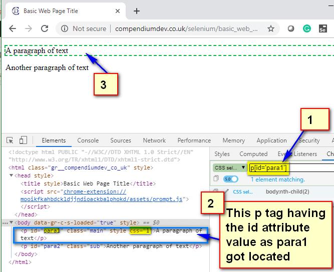 Relative CSS Selectors - p para1