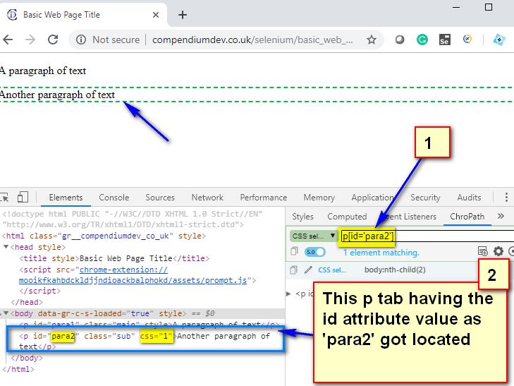 Relative CSS Selectors - p para2