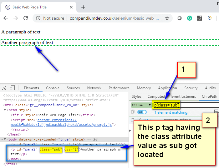 Relative CSS Selectors - p sub