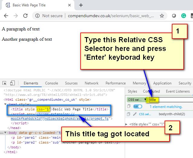 Relative CSS Selectors - title