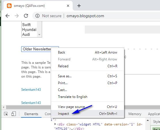 Relative XPath - Dropdown inspect