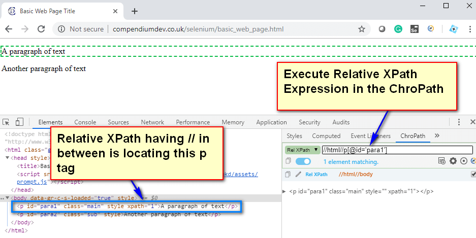 Relative XPath Expressions - double
