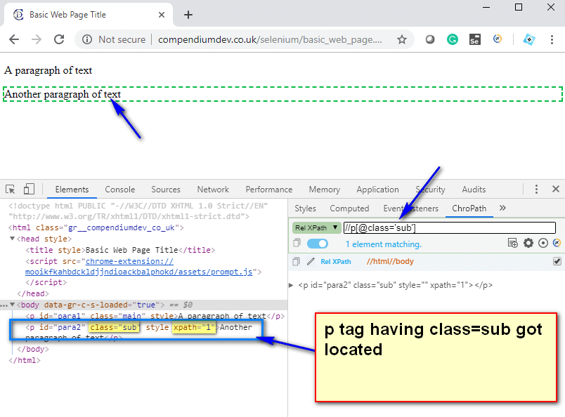 Relative XPath Expressions - p sub