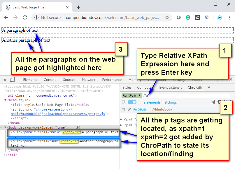 Relative XPath Expressions - p tags located