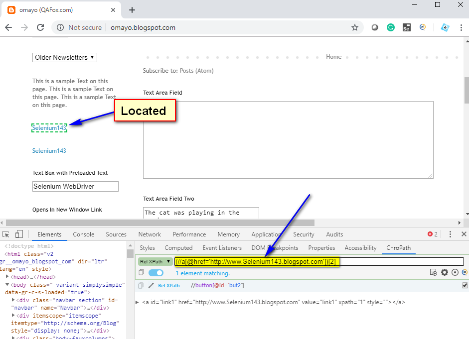 Relative XPath Expressions - second hyperlink located
