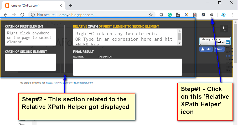 Relative XPath Helper - Displayed