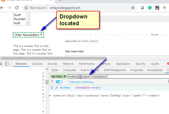 Relative XPath - dropdown located