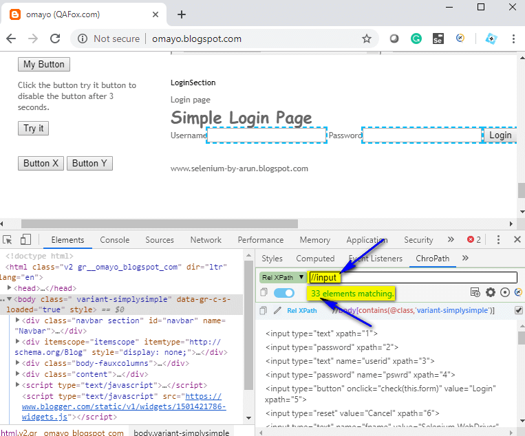 Relative XPath - input tags located