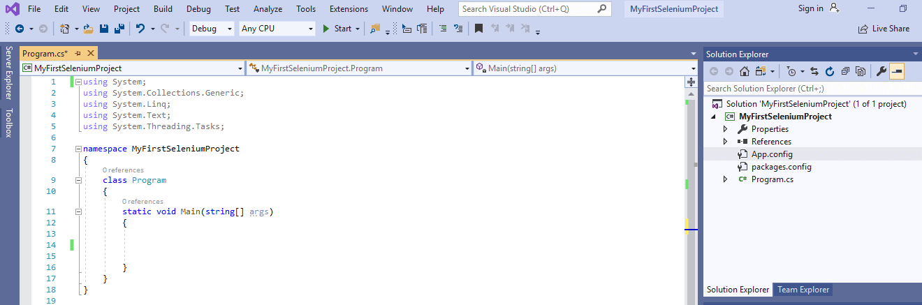 Selenium C# - Open Project Visual Studio