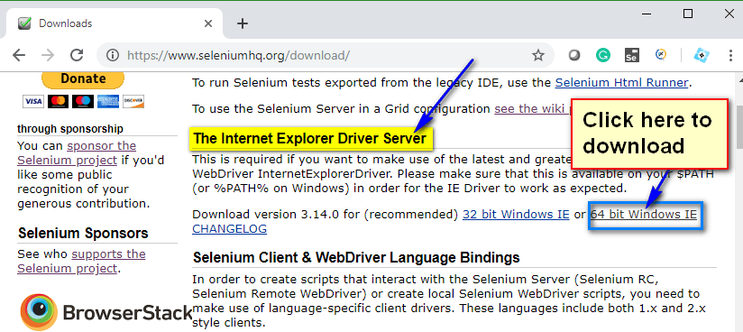 Selenium CSharp - Download Link IE Driver
