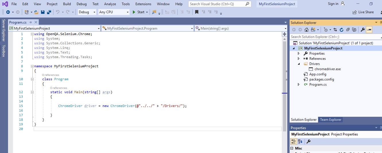 Selenium CSharp - Open Project