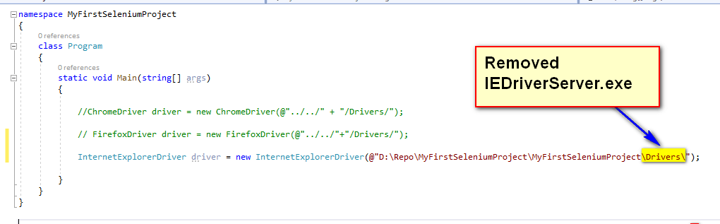 Selenium CSharp - Remove IEDriverServer