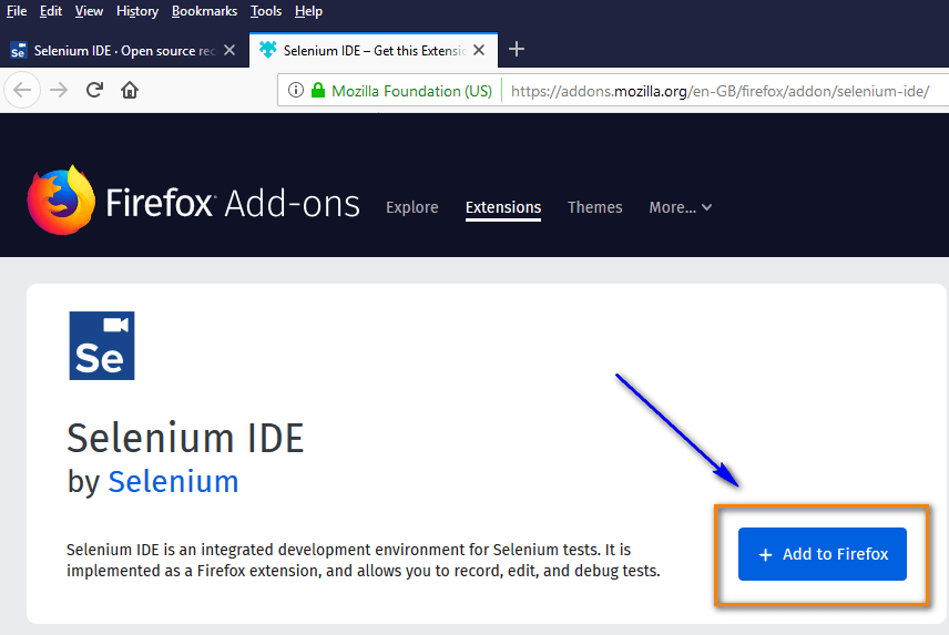 Selenium IDE Firefox - Add to Firefox