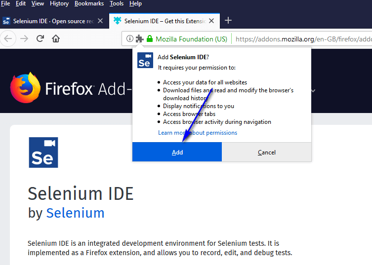 Selenium IDE Firefox - Add