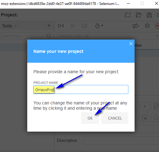 Selenium IDE Firefox - Project Name