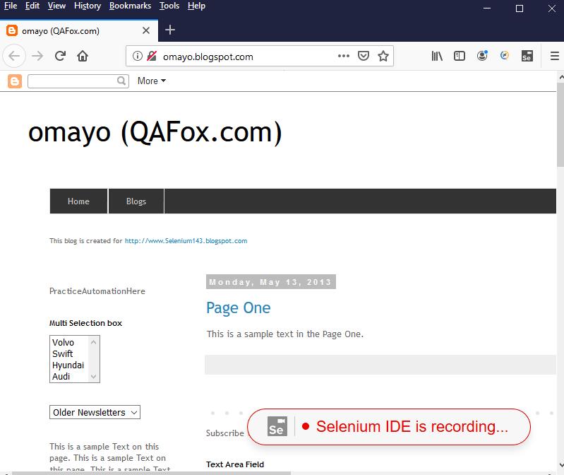 Selenium IDE Firefox - Selenium IDE is recording