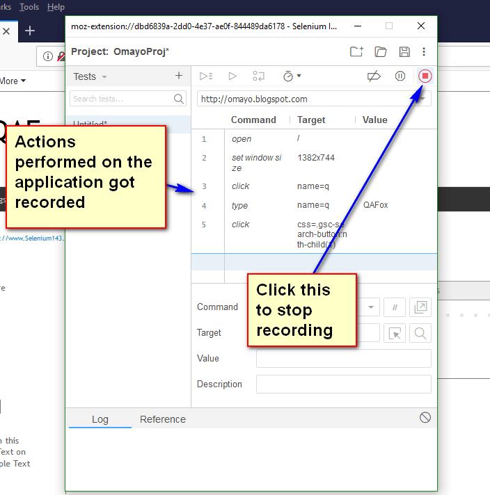 Selenium IDE Firefox - Stop Recording