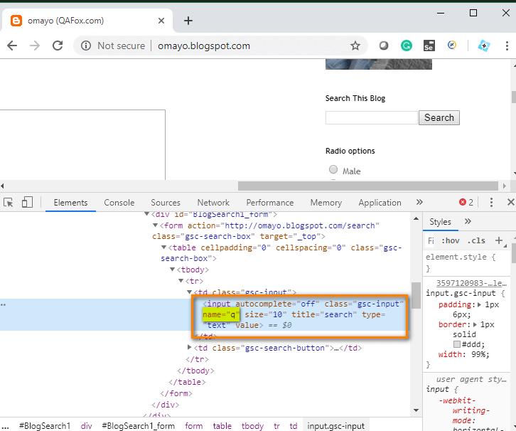 Selenium IDE - Name HTML highlight