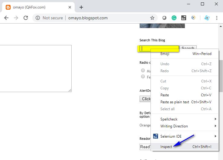 Selenium IDE - Name Inspect