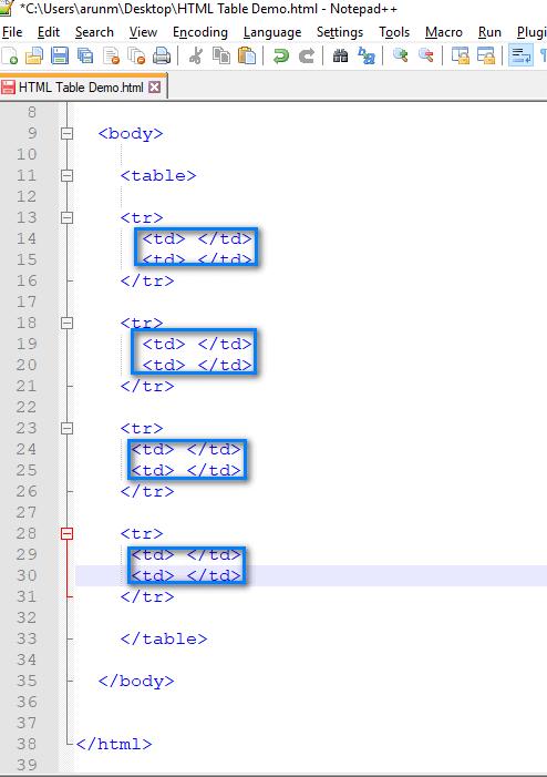 Table - td tags