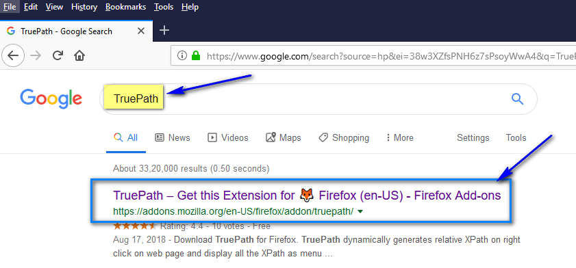 TruePath Firefox - Search
