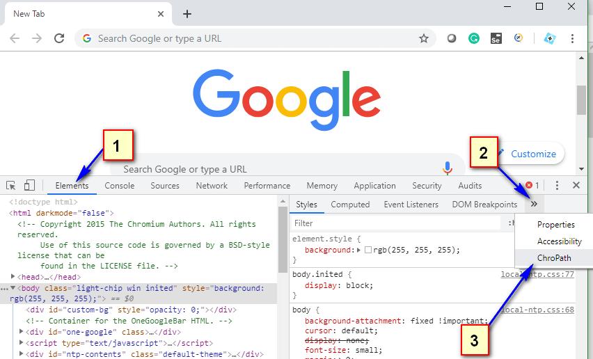 Using ChroPath - Find ChroPath option