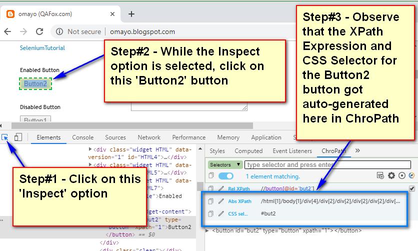 Using ChroPath - XPath CSS Locators Auto Generated