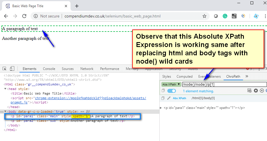 XPath Expressions - Wild cards - XPath node one