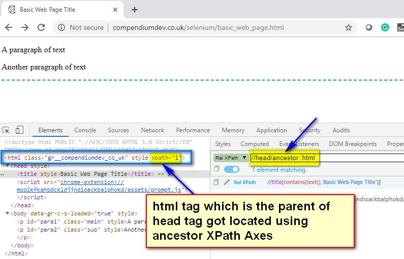 ancestor XPath AXES - head html