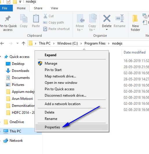 appium - nodejs path - Properties option