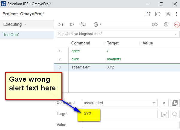 assert alert Selenium IDE - demo fail