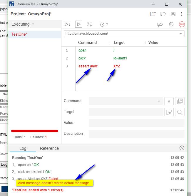 assert alert Selenium IDE - executed fail