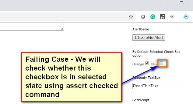 assert checkbox Selenium IDE - demo fail