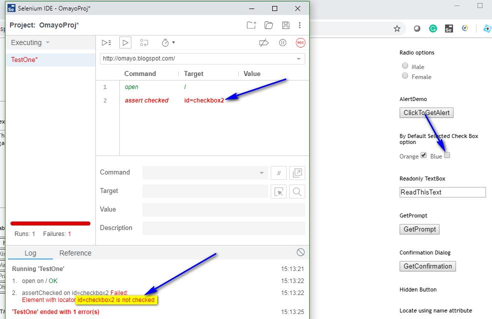 assert checkbox Selenium IDE - executed two