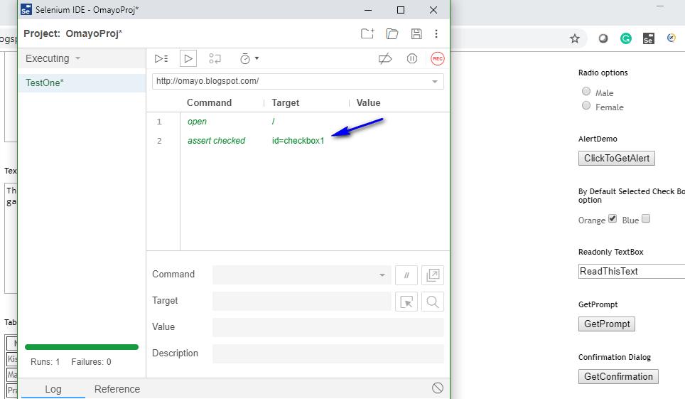 assert checkbox Selenium IDE - executed