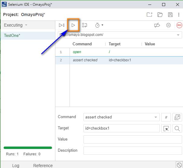 assert checkbox Selenium IDE - run